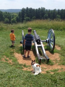My kids exploring Valley Forge National Park