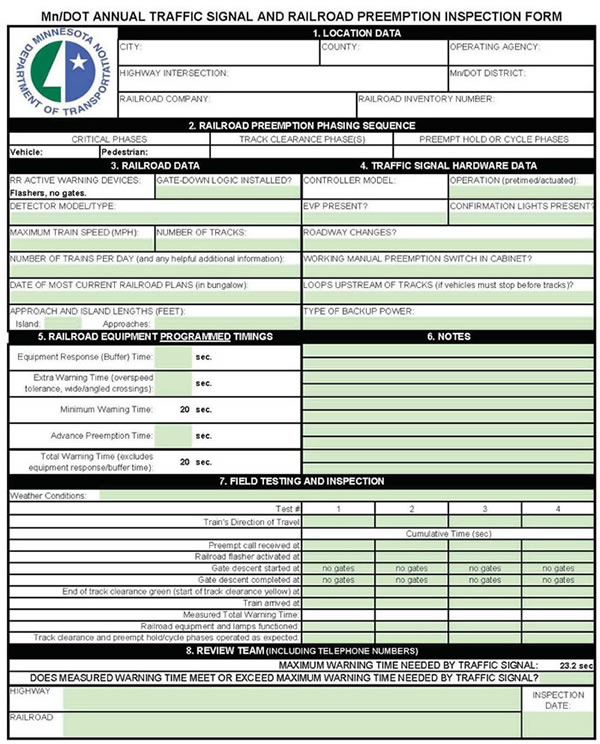 Recording Devices for Interconnected Grade Crossing and - sample inspection checklist template