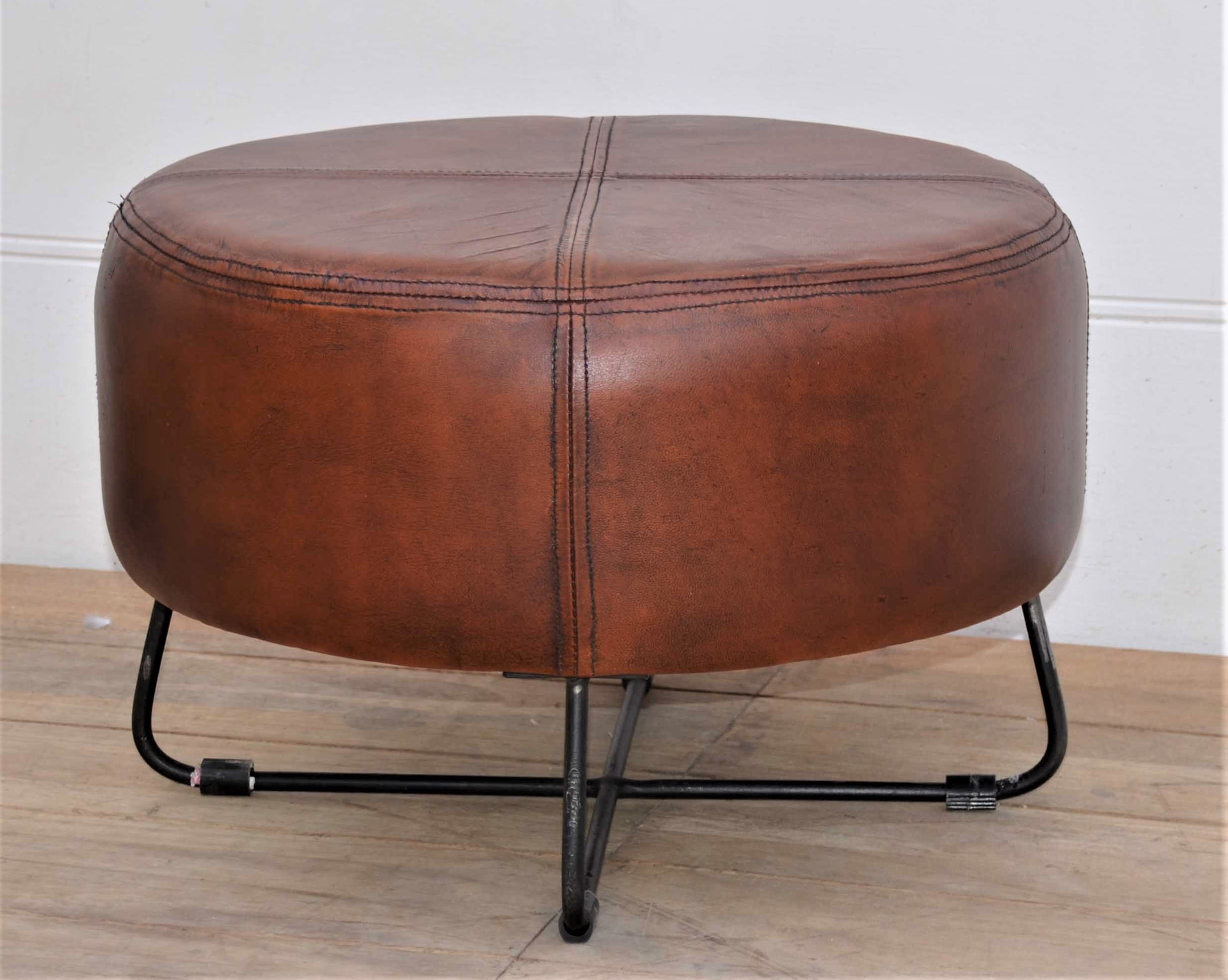 Hocker Vintage Hocker Leather Metal