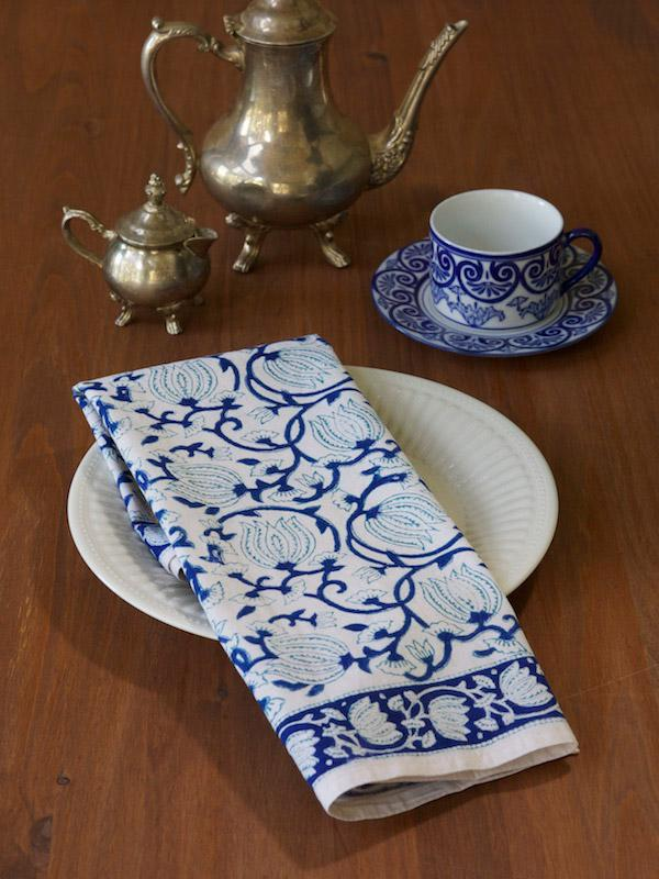 Blue White Cotton Napkins Blue Floral Cloth Napkins