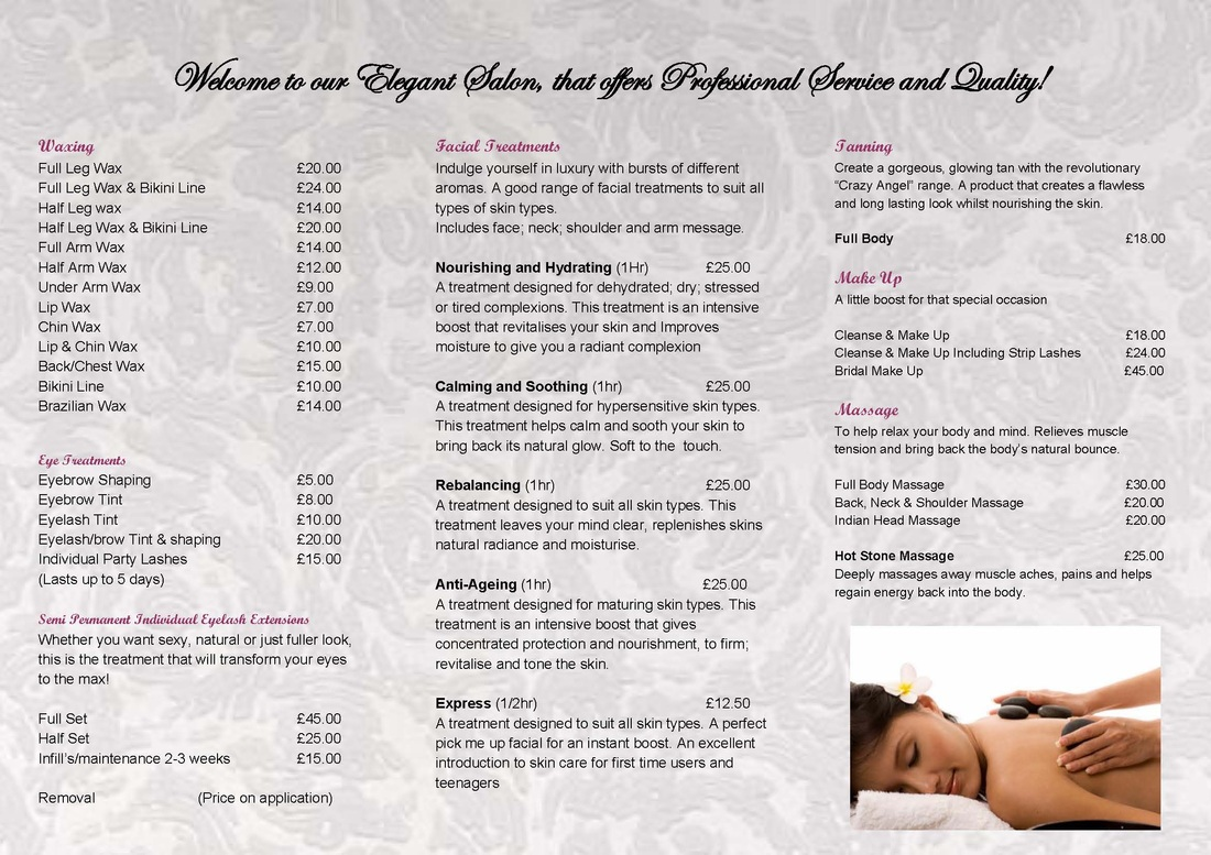 Beauty Salon Prices Salon Price List The Beauty Parlour