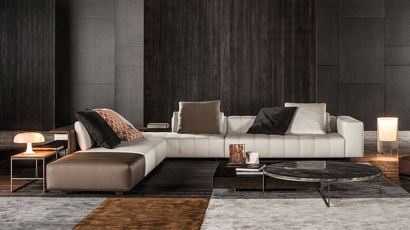 Minotti Freeman Sofa Duvet And Tailor Seating Systems - Divano Alcantara Beige