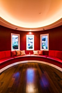 "Round architecture of a red ""chill out"" room"
