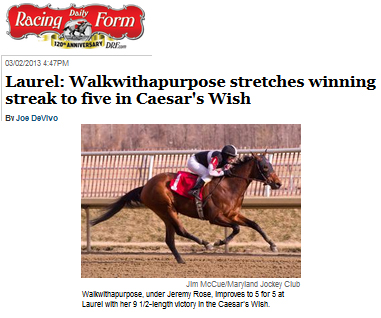 The Daily Racing Form Walkwithapurpose stretches winning streak to - racing form