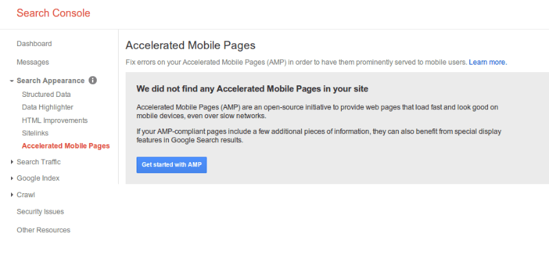Accelerated Mobile Pages in Google Webmaster