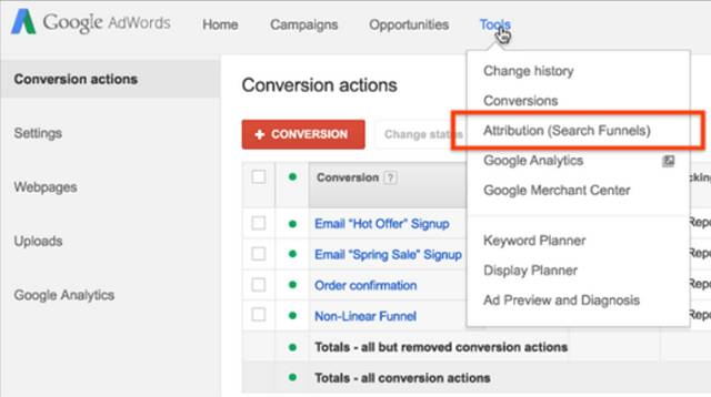 Attribution tool in google adwords