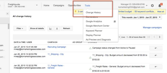 Change History tool in google adwords