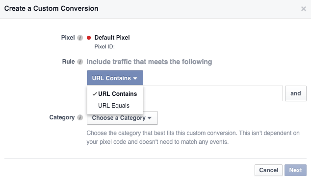 create Customs Conversions on Facebook