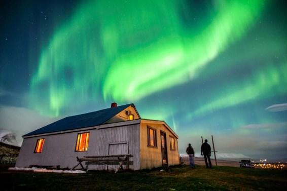 Northern Lights near Fálkafell, above Akureyri