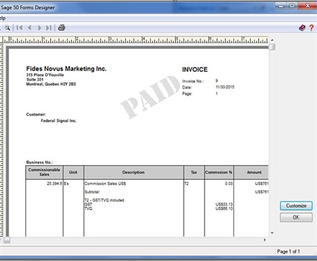 Sales Invoice for Commission - Sage 50 CA General Discussion - Sage