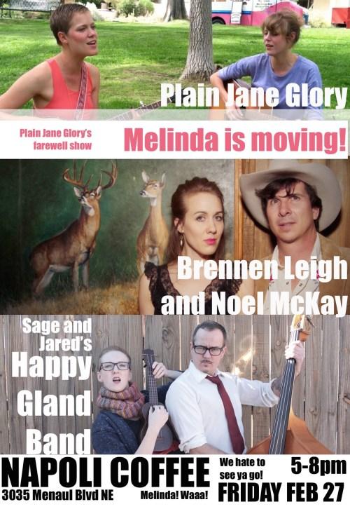Happy Gland Band - Plain Jane Glory - Brennen Leigh and Noel McKay - Napoli Coffee - Sage Harrington