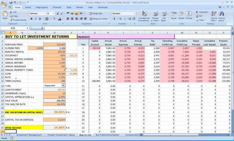 financial spreadsheets free