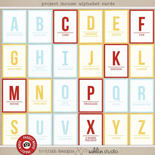Project Mouse Alphabet Cards Sahlin Studio Digital Scrapbooking