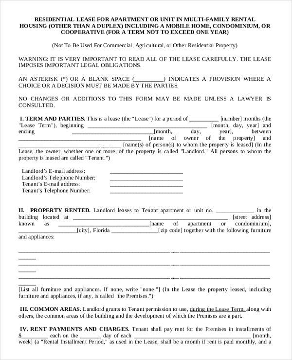 19 Apartment Rental Agreement Templates Free Sample Example - Said