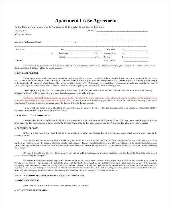 Apartment Lease Agreement - Said Apartment