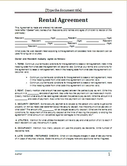 Apartment Rental Lease - Said Apartment