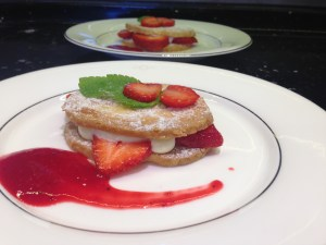 A shortbread strawberry and rasberry coulis treat! Yum!