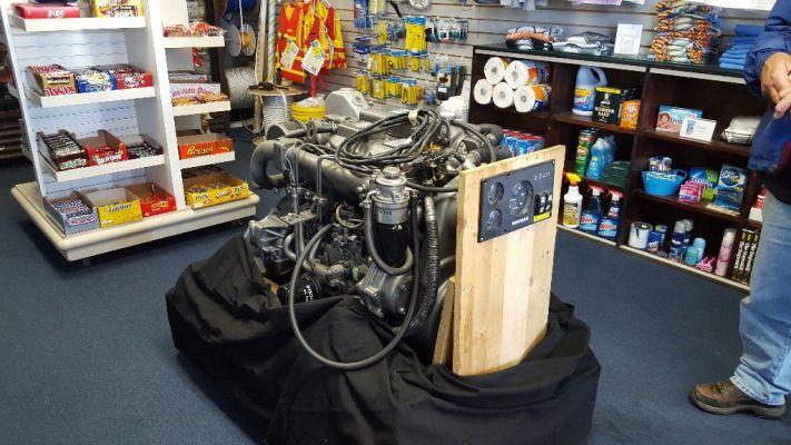 New Engine sitting in marina store