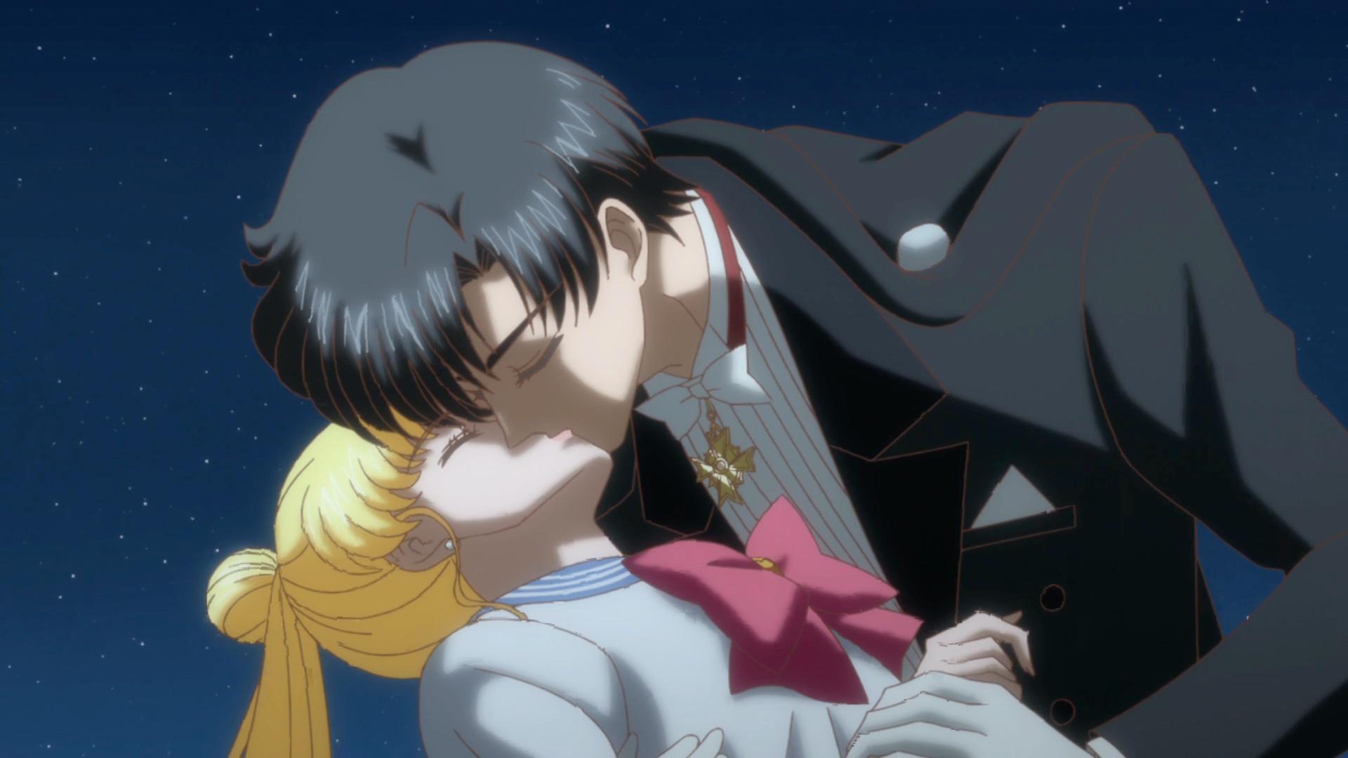 Sakura Falling Live Wallpaper Sailor Moon Crystal Act 14 Tuxedo Mask Kissing Usagi