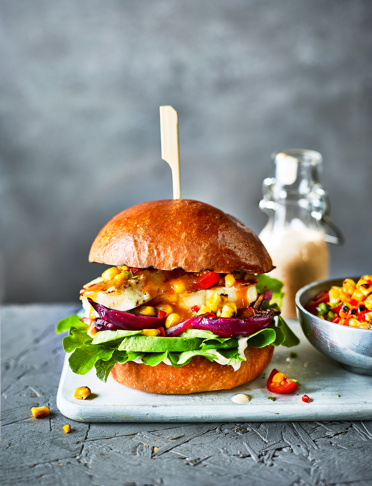 Bbq Canapes Recipes Peri Peri Halloumi Burger With Sweetcorn Salsa Recipe