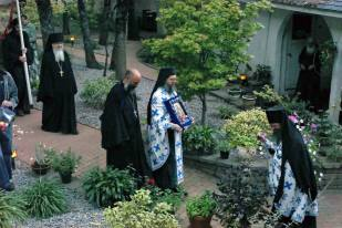Clergy left to right: Abbot James, Priest Athanasius Kone, Abbot Damascene, Hieromonk Paisius