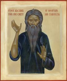 Elder Macarius the Fool-for-Christ of Novopskov and Starobelsk (+1981). This icon was featured on the cover of The Orthodox Word Nos. 306-307.
