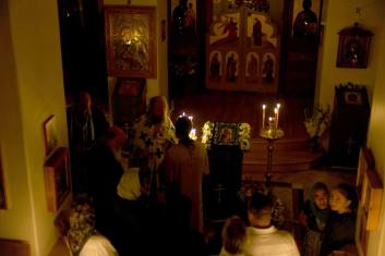 Anointing the faithful during the Vigil of the Feast of the Nativity of the Most Holy Theotokos.
