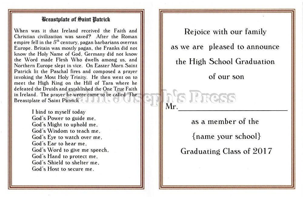 High School Graduation Announcement Card - Saint Joseph\u0027s Press