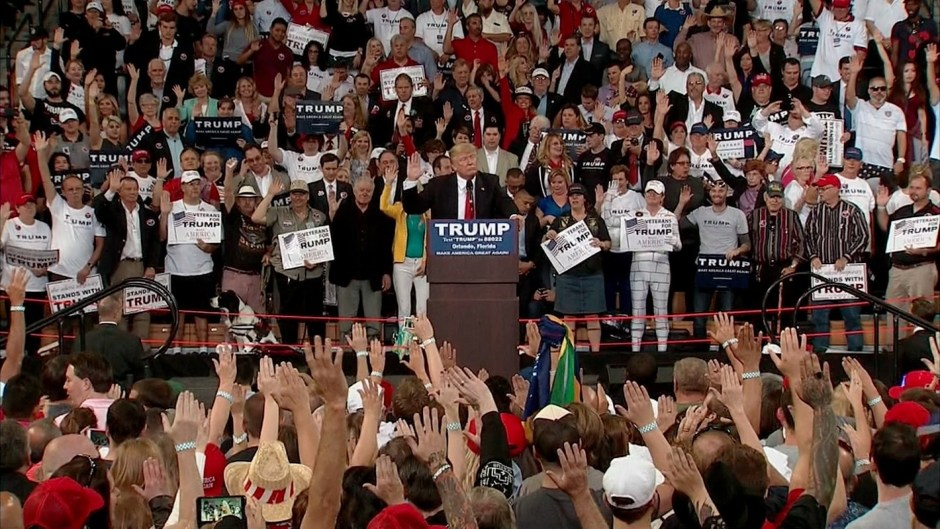 Donald Trump on Saturday led a mass rally in taking a pledge affirming ...