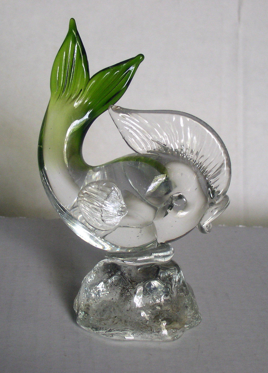 Arte Murano Icet Bird Icet Arte Murano Hand Blown Glass Fish Green Clear Paperweight