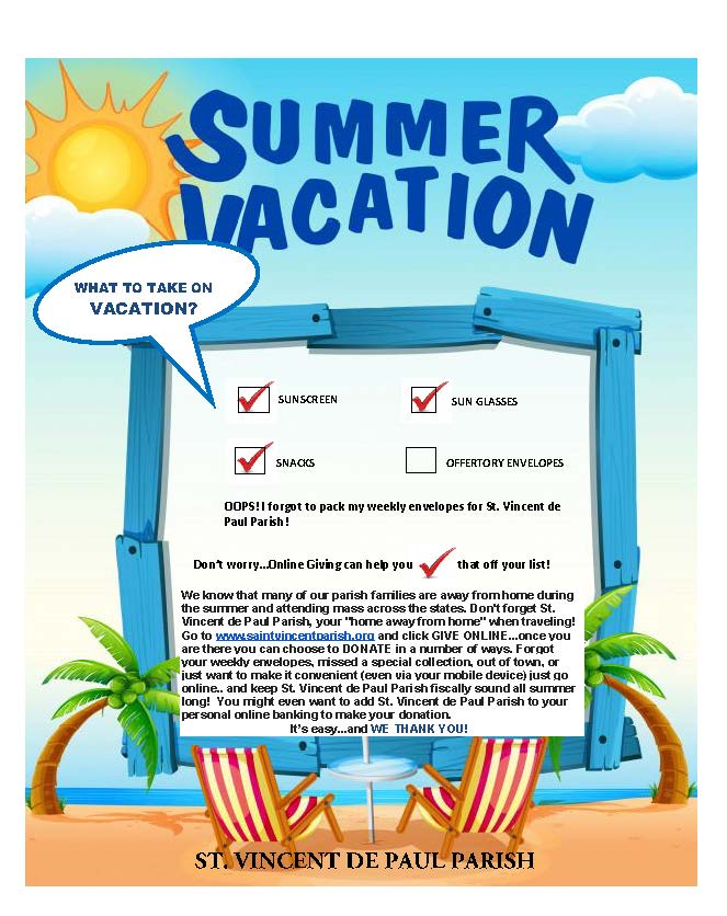 Summer Vacation Checklist \u2013 St Vincent de Paul Church - summer vacation checklist