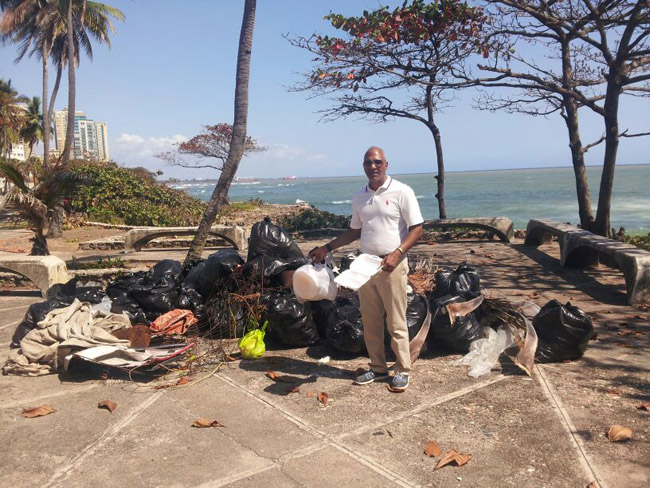 Garbage collected at beach
