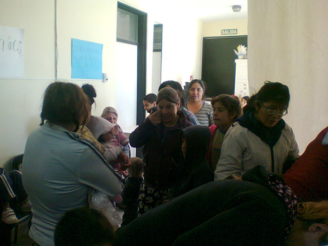 Argentina Vision Camp - People waiting to be consulted by doctors in Las Heras, Mendoza, Jjuly 7, 2014