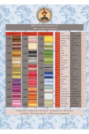 Fil Au Chinois variegated sewing thread colour chart