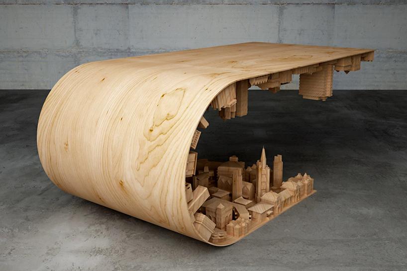映画の世界を再現!幻想的なコーヒーテーブル「Wave City Coffee Table」