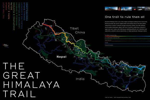 Great Himalaya Trail Stylised Map Poster