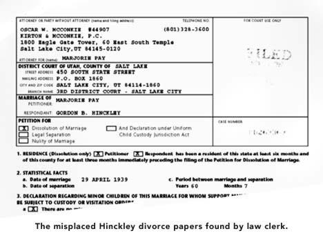 Salamander Society Parody News - Mormon - LDS - blank divorce papers