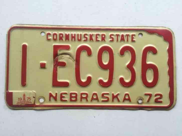 Nebraska 1972 1975 License Plate Old Car Tag Vintage