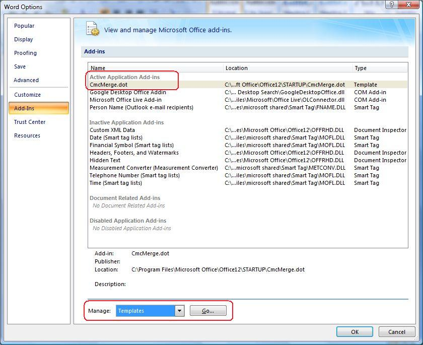 Microsoft Visual Basic Runtime error 438 with Word 2007