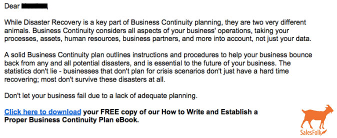 4 Ways This \u0027Business Continuity\u0027 Sales Email Could Have Used Better - business continuity plan