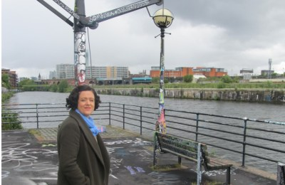 Liz McIvor on the banks of the Manchester Ship Canal