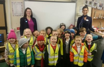 Jo Lindley, Optical Advisor and Debra Jones from Specsavers Eccles, with children from St. Paul's Primary School1