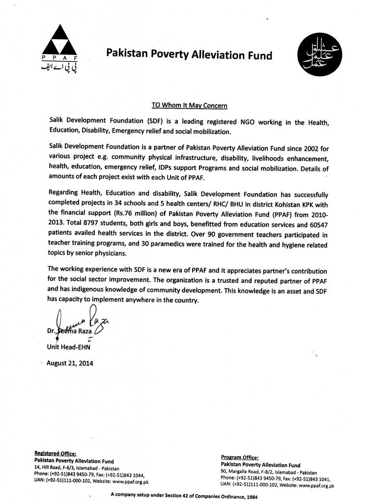 Appreciation Letters Salik Development Foundation