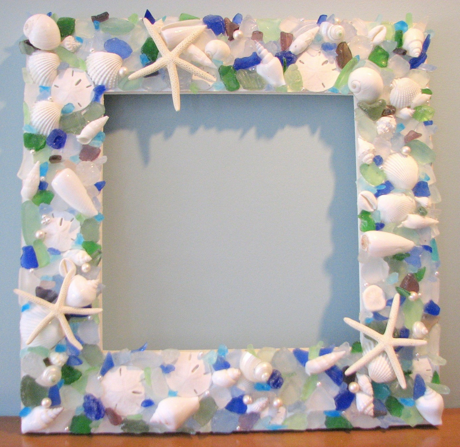 Diy Picture Frame With Glass Gtbeach Grass Cottage Sea Glass Seashells And Starfish