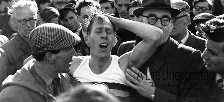 Franz Stampfl with Roger Bannister at the breaking of the Four Minute Mile, 1954
