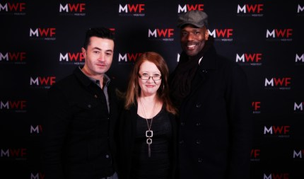 "Sally McLean with ""Blood Vessel"" lead actors Mark Diaco and Christopher Kirby at MWF Awards Gala"