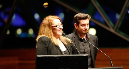 Sally McLean presents the Best Australian Comedy Award with Ozflix Development Manager, Greg Kelly at MWF Awards Gala