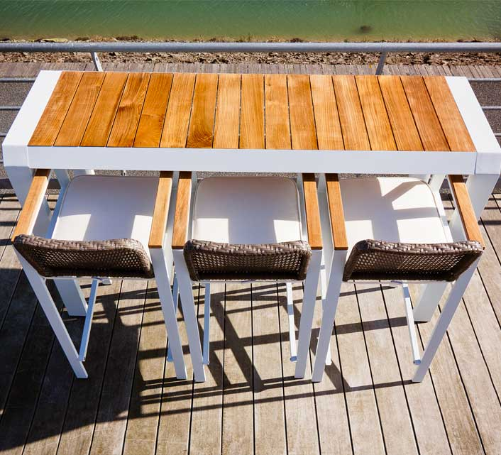 Table Bar De Jardin Table Haute De Jardin Bar Alu Blanc Teck Miami H 194 Cm