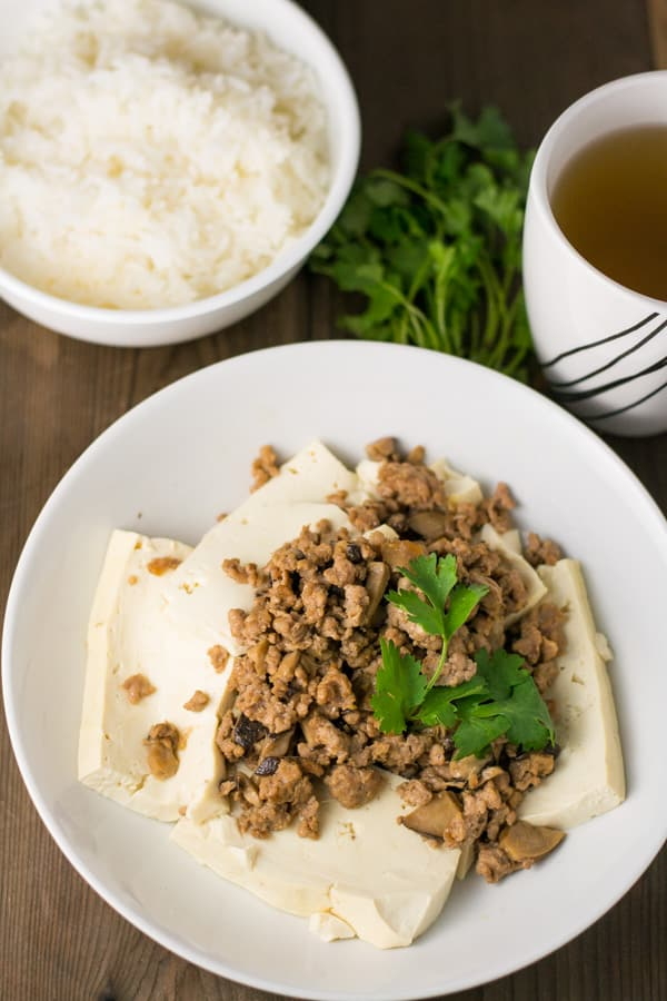 Steamed Tofu with Pork and Mushrooms - Salu Salo Recipes