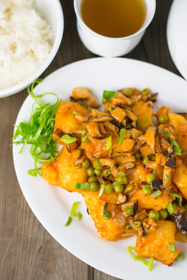 Sweet and Sour Fish and Mushrooms